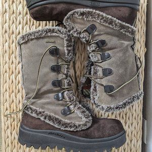 Skechers Lace Up Fur Trimmed Winter Snow Boots 8.5